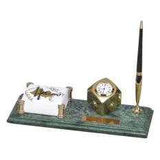 Настольный набор: держатель для блок-листов, часы