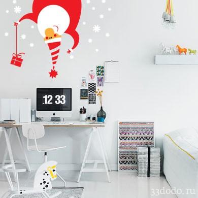 Интерьерная наклейка Дед Мороз и снежинки