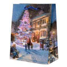 Бумажно-ламинированный пакет Новогодний (18х23 см) с елкой