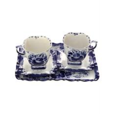 Чайный набор на 2 персоны с Гжельской росписью Бодрое утро