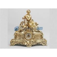 Часы из бронзы Дама с арфой