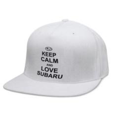 Кепка снепбек с прямым козырьком Keep calm and love subaru