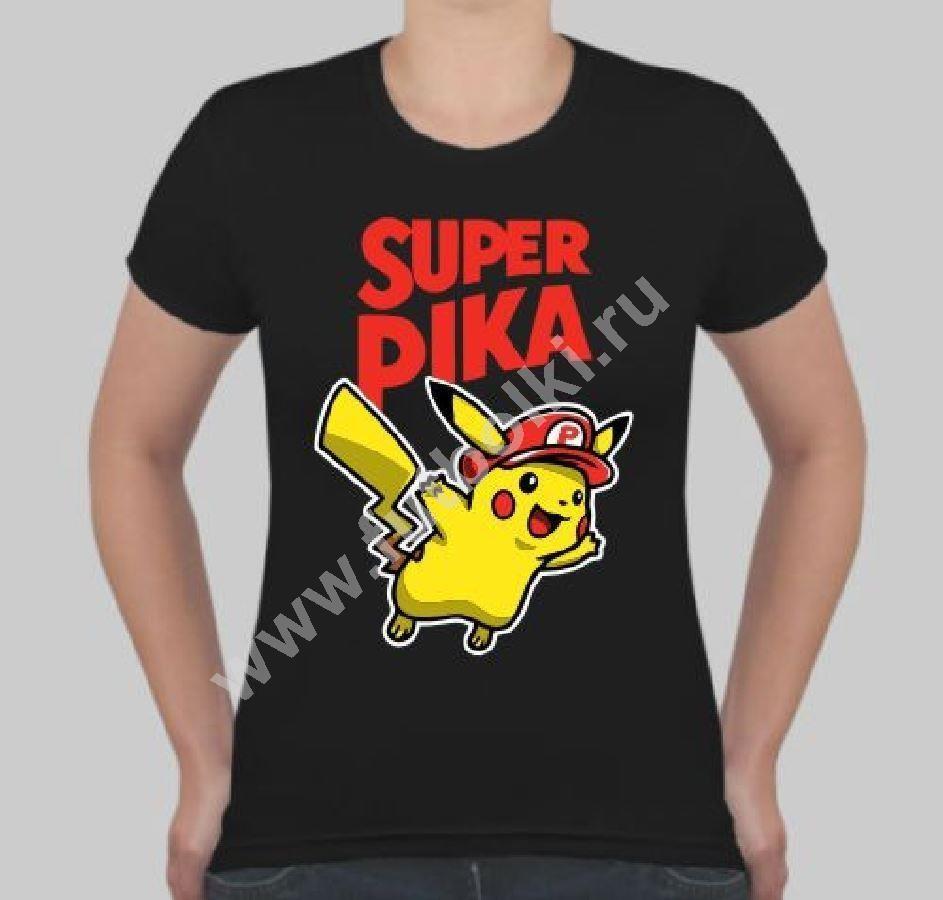 Женская футболка Пикачу super pika
