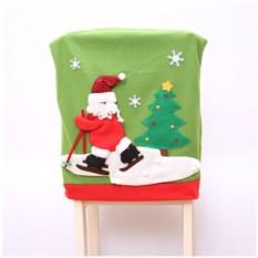 Новогодний чехол на стул «Дед Мороз на лыжах»