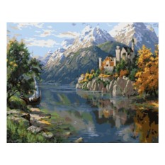 Картина по номерам «На берегу горного озера»