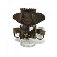 Пивная кружка в коричневом кожаном чехле Пират