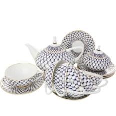 Фарфоровый чайный сервиз на 6 персон Кобальтовая сетка