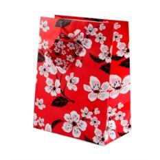 Бумажный ламинированный подарочный пакет с сакурой