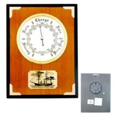 Деревянный настенный барометр с картинкой корабля
