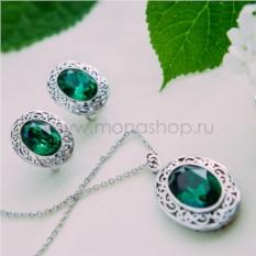 Комплект с зелеными кристаллами Сваровски Сара