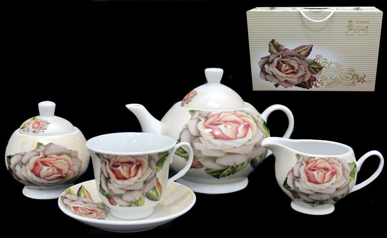 Чайный сервиз Lenardi серия Бежевая роза на 6 персон