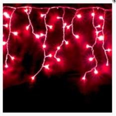 Красная светодиодная бахрома 3х0,5 с белыми диодами