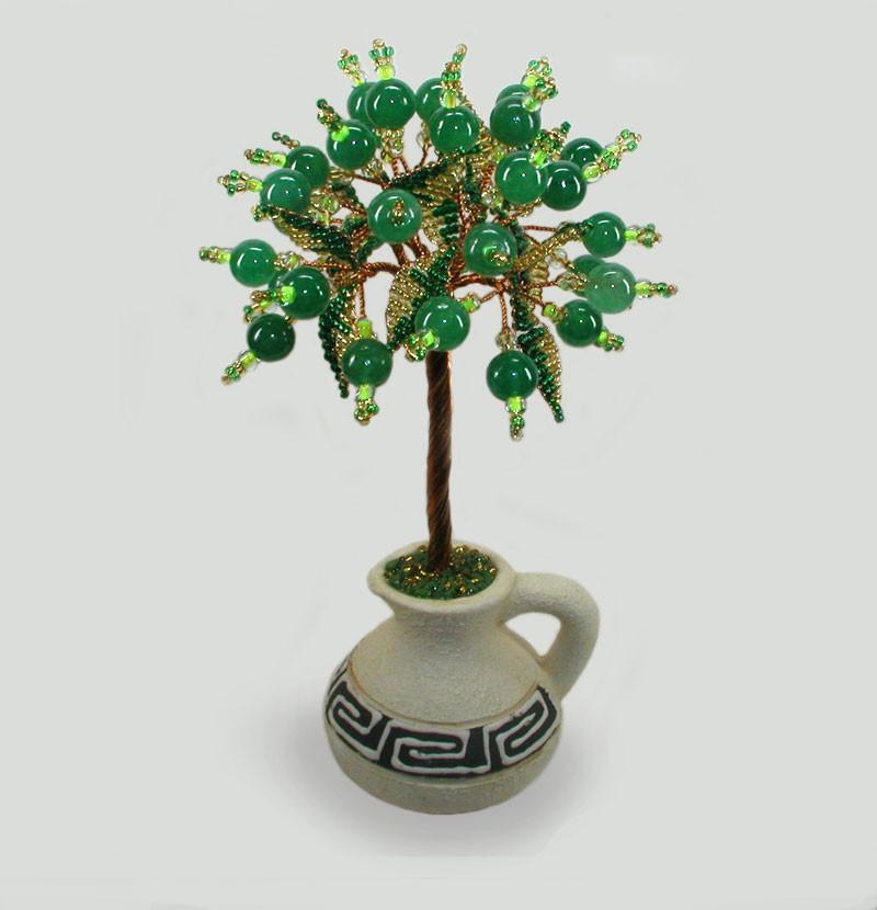 Дерево яркой любви из нефрита в вазочке из белой глины