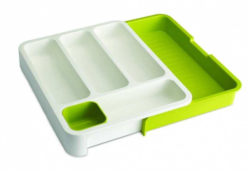 Органайзер для столовых приборов DrawerStore™, белый/зеленый