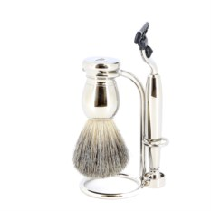 Серебристый набор для бритья S.Quire