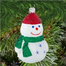 Елочная игрушка «Снеговик с шарфиком»