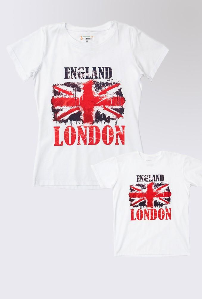 Комплект белых футболок London для мамы и ребенка