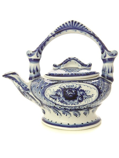 Заварочный керамический чайник с росписью Гжель Январь