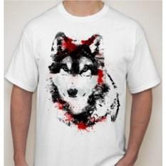 Мужская футболка Волк с красными пятнами