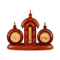 Настольные часы с термометром и барометром, размер 27x36см