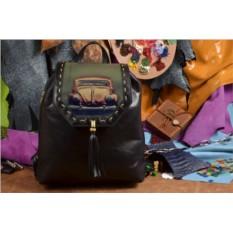 Женский кожаный рюкзак ручной работы Ретро-машинка