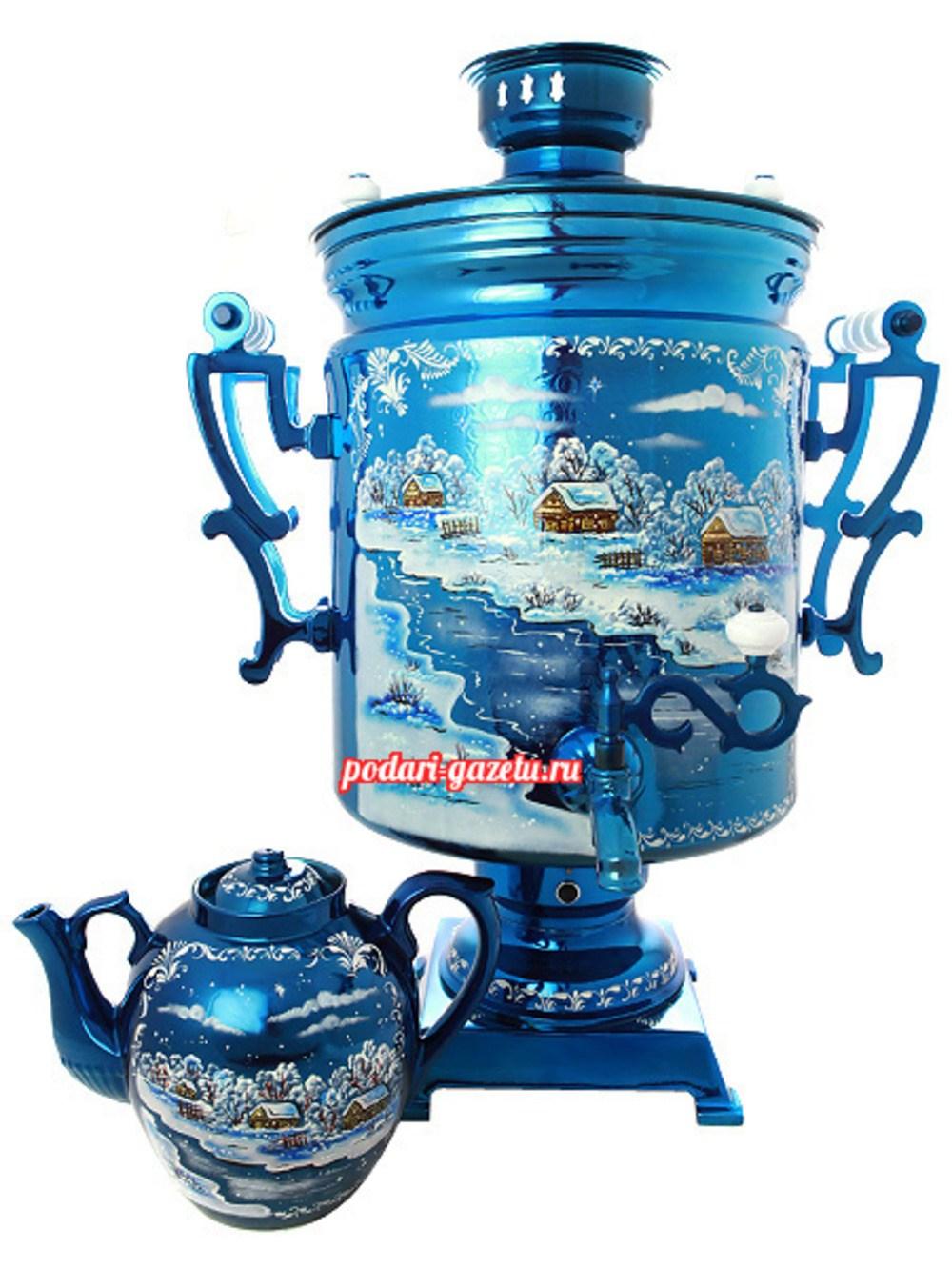 Комплект Зимний вечер: самовар электрический на 45 литров и заварочный чайник