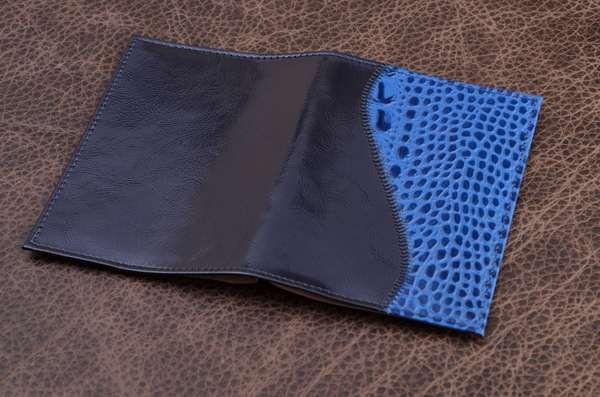 Обложка для паспорта (синий, кожа)