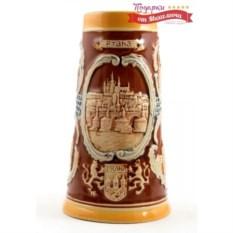 Коллекционная пивная кружка Прага коричневого цвета