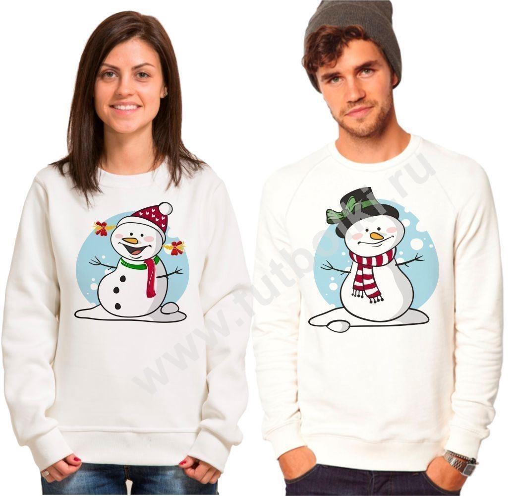 Парные новогодние толстовки Снеговики