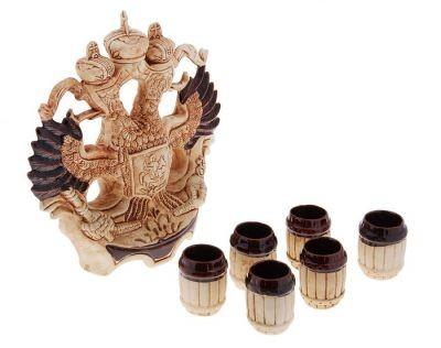 Винный набор Герб (7 предметов), шамот