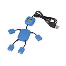 Синий usb-разветвитель в виде человечка на 4 порта с часами