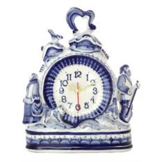 Часы с художественной росписью Гжель. Мороз