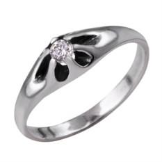 Серебряное кольцо с декором в виде цветка с фианитом