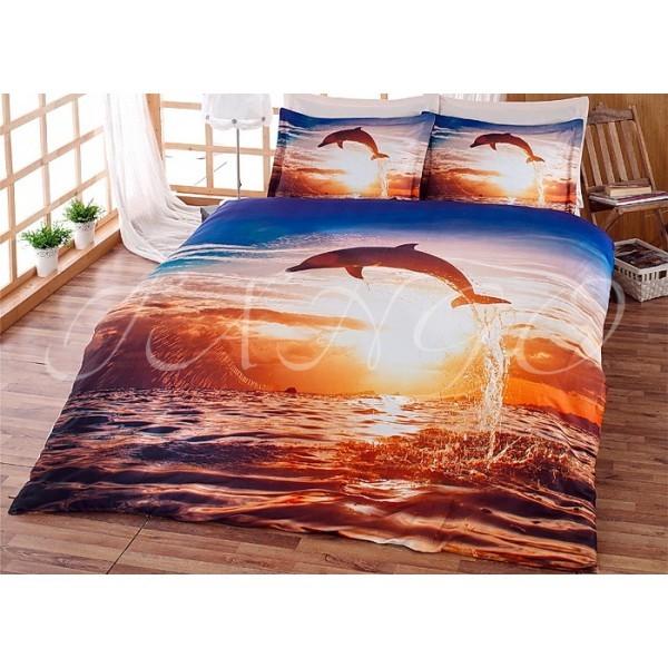 Евро комплект постельного белья, дельфин