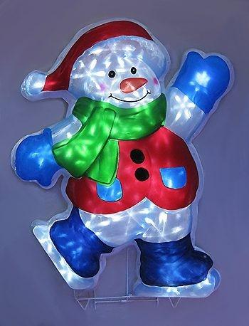 Электрическое объемное панно Снеговик на коньках, 77 см