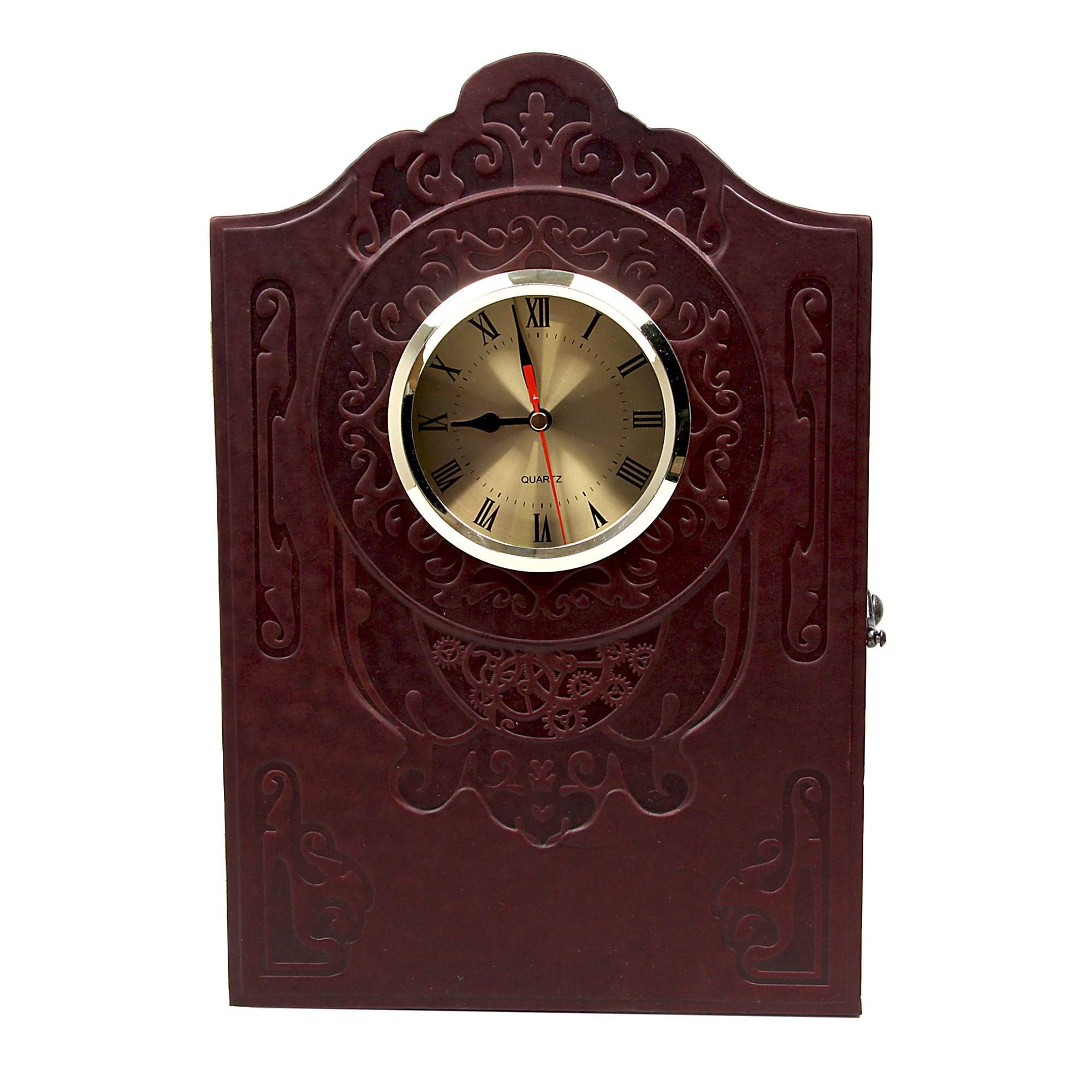 Настольные часы-бар из кожи с графином и рюмками