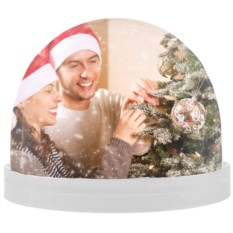 Белый магнит с вашим фото «Падающий снег»