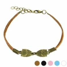 Коричневый браслет на шнурке Мудрые совушки