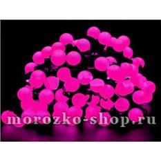 Электрогирлянда Большие розовые мультишарики, 100 розовых LED ламп