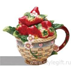 Фарфоровый чайник Клубничная корзина