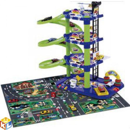 Игровой набор Парковка 4 уровня с ковриком