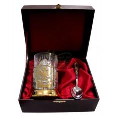 Чайный подарочный набор (позолоченный подстаканник) Герб РФ в футляре