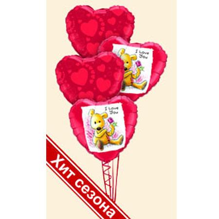 Букет из шаров «Я тебя люблю» с мишкой
