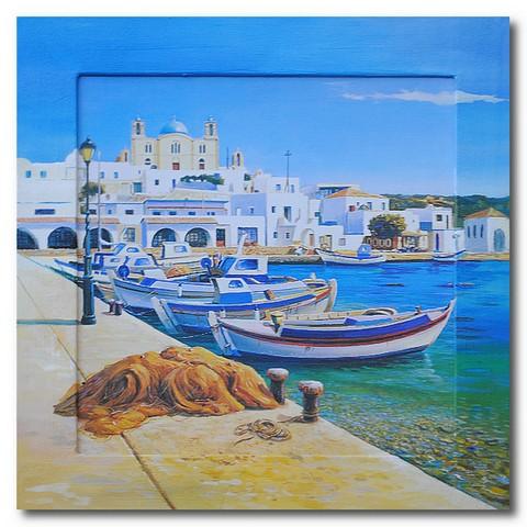 Картина Лазурное море и лодки у причала, (репродукция с подрисовкой на раме)