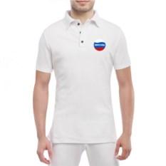 Белая мужская футболка поло Матвей