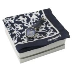 Темно-синий набор шейный платок и наручные часы