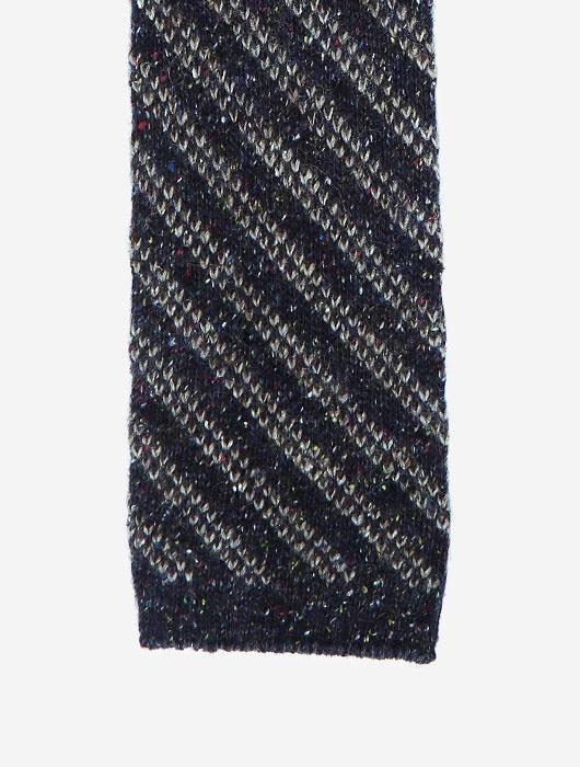 Тёмно-синий вязаный галстук  Calabrese в серую полоску