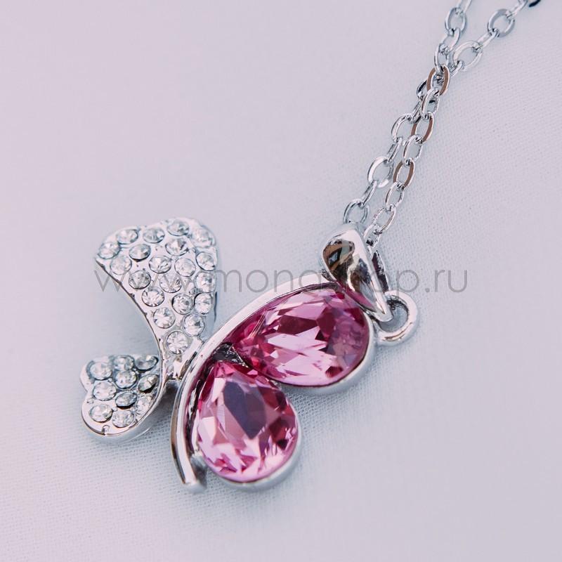 Кулон с розовыми кристаллами Сваровски Кассандра