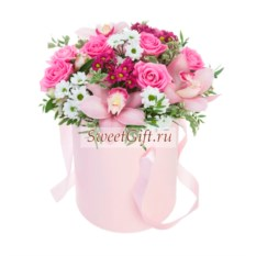 Цветы в шляпной коробке Микс
