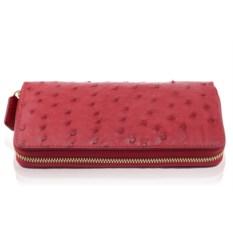 Красный кошелек ручной работы из кожи страуса